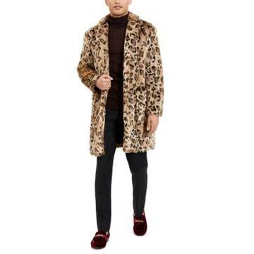 Tallia Men's Leopard Faux Fur Overcoat