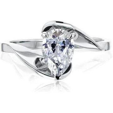 Annello by Kobelli 14K Gold Fanning Bypass Pear Moissanite Ring (HI/VS)