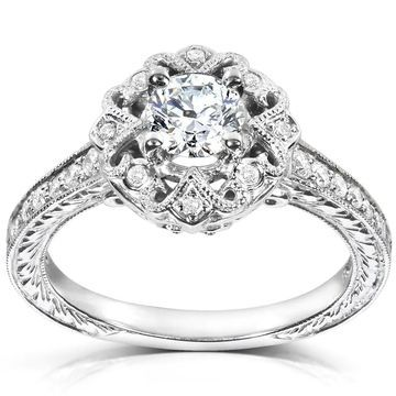 Annello by Kobelli 14k White Gold 1/2ct TDW Diamond Edwardian Antique Engagement Ring