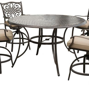 """Hanover Traditions 5-Piece Outdoor Dining Set In Tan/Cast With 4 Counter Height Swivel Rockers, 56"""" Round Cast-Top Table"""