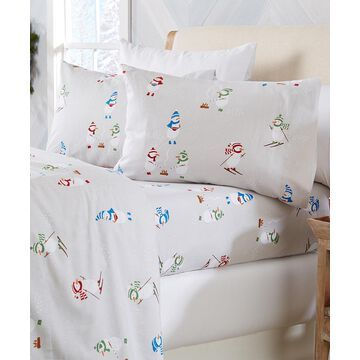 Home Fashion Designs Sheet Sets Snowman - Off-White & Red Snowman With Cocoa Stratton Flannel Sheet Set
