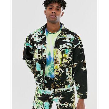 Jaded London two-piece denim jacket in tie dye-Black