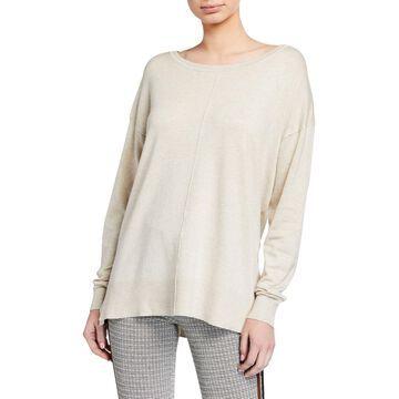Scoop-Neck Center-Seam Sweater