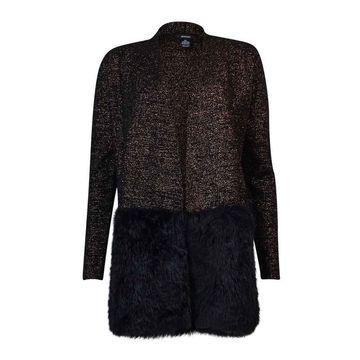 Alfani Women's Metallic Knit Faux Fur Cardigan - Black/Copper