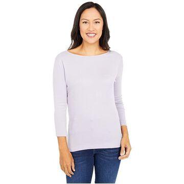 Three Dots 100% Cotton Heritage Knit 3/4 Sleeve British Tee (Lavender Aura) Women's Long Sleeve Pullover