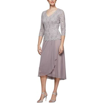 Alex Evenings Womens Lace Sequined Midi Dress