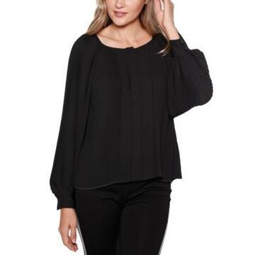 Belldini Black Label Button Front Pleated Blouson Sleeves Top