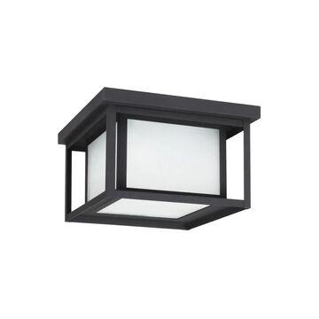 Sea Gull Lighting Hunnington 10-in W Black Outdoor Flush Mount Light ENERGY STAR | 79039EN3-12