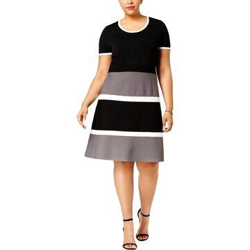 Anne Klein Womens Plus Shirtdress Colorblocked Short Sleeve - 3X