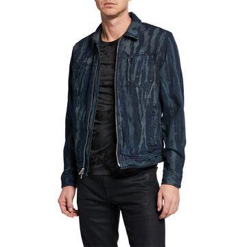 Men's Lucas Zip-Front Denim Trucker Jacket