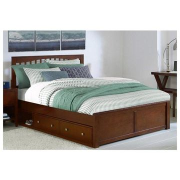 NE Kids Pulse Queen Storage Slat Bed in Cherry