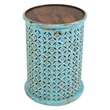Global Archive Drum Table, Turquoise