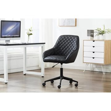 Porthos Home Vero Adjustable Swivel Office Chair, Leather Upholstery