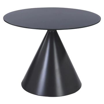 Armen Living Brittany Matte Grey Round Dining Table, Glass Top with Chrome Wood Base in Gray   LCBTDIGR