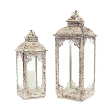Melrose Candleholders 81.28 - White Scrollwork Lantern - Set of Two