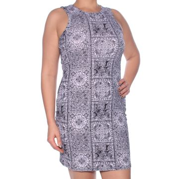 DEREK HEART Womens Black Geometric Sleeveless Jewel Neck Above The Knee Body Con Cocktail Dress Size: L