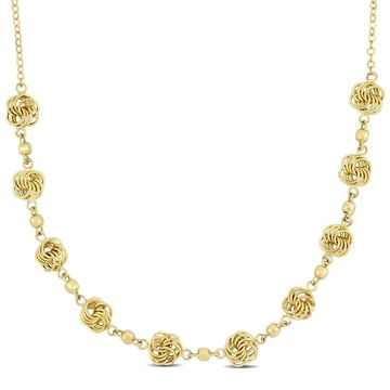 Miadora 10k Yellow Gold Station Loveknot Necklace