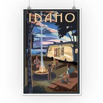Idaho - Retro Camper & Lake - Lantern Press Artwork (12x18 Art Print, Wall Decor Travel Poster)