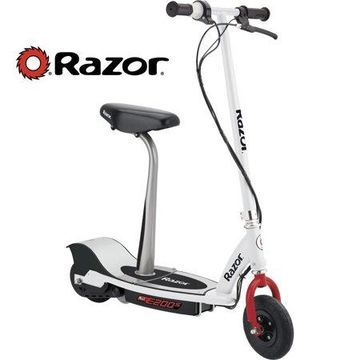 Razor E200S Electric Scooter with Rear Wheel Drive - White/Red