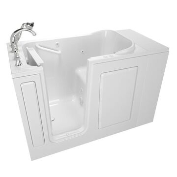 American Standard 28-in W x 48-in L White Gel-coated Fiberglass Rectangular Left Drain Walk-In Whirlpool and Air Bath Combination Tub and Faucet