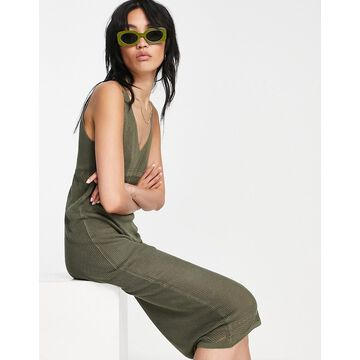 Y.A.S knitted maxi dress in khaki-Green