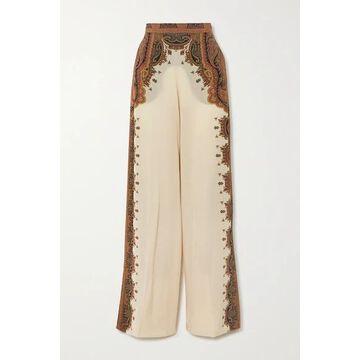 Etro - Printed Silk Wide-leg Pants - Ivory