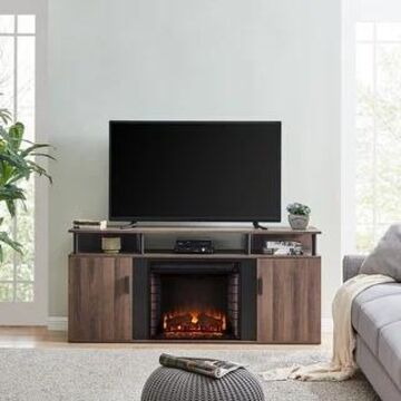 Lanson Modern Farmhouse Brown Wood Electric Fireplace Media Console (Brick Accent Firebox)
