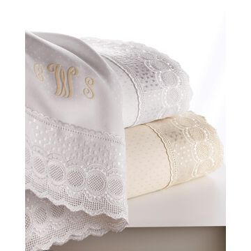 King Marcus Collection 400 Thread-Count Lace-Trimmed Sheet Set