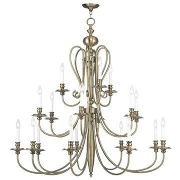 Livex Lighting 5179 Caldwell 18 Light 3 Tier Chandelier Antique Brass Indoor Lighting Chandeliers
