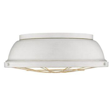 Golden Lighting Bartlett 5.75-in French White Rustic Incandescent Flush Mount Light