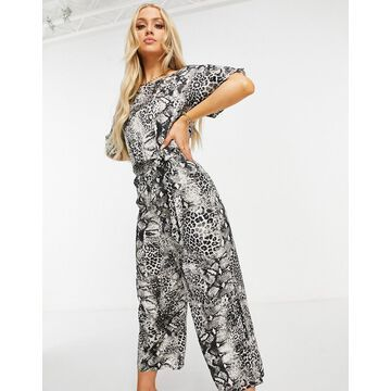 AX Paris slash neck jumpsuit in snake-Multi
