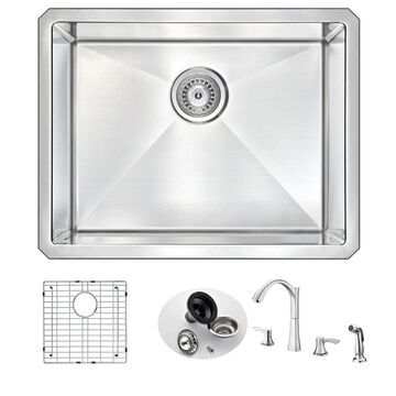 ANZZI VANGUARD Undermount Stainless Steel 23 in. Single Bowl Kitchen Sink and Faucet Set with Brushed Nickel Soave Faucet