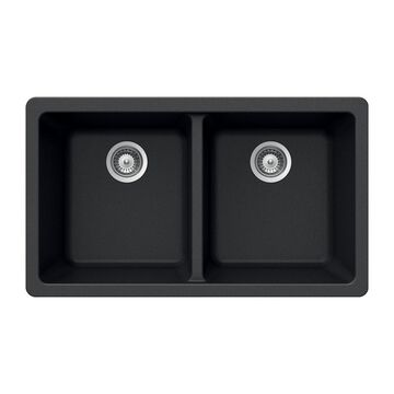 HOUZER 33-in x 18.5-in Onyx Double-Basin Undermount Residential Kitchen Sink