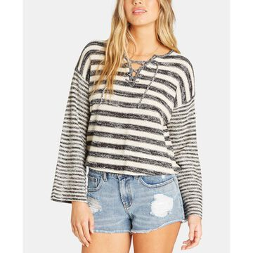 Juniors' Striped Lace-Up Sweater