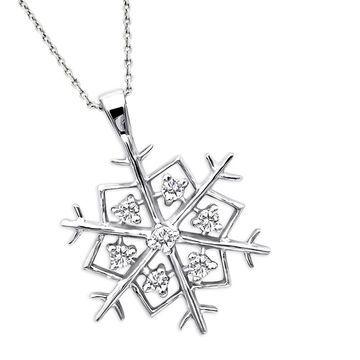 Luxurman 14K Gold Diamond Snowflake Pendant 0.21ct