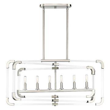 Rotterdam 6-Light Trestle Chandelier, Polished Nickel