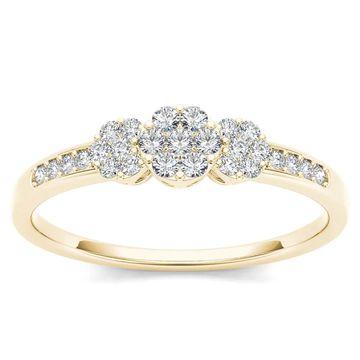 De Couer IGI Certified 10k Yellow Gold 1/5ct TDW Diamond Cluster Engagement Ring