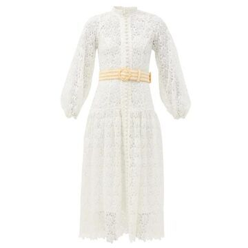 Zimmermann - Empire Belted Guipure-lace Midi Dress - Womens - Ivory
