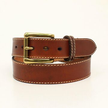 N23009153-44 Mens Ocala Plain Belt & Buckle, Cognac - Size 44