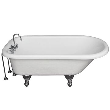 Barclay 30-in W x 60-in L White Acrylic Oval Back Center Drain Clawfoot Soaking Bathtub and Faucet Included   TKATR60-WCP10