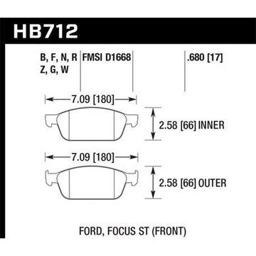 Hawk 13 Ford Focus Performance Ceramic Front Street Brake Pads