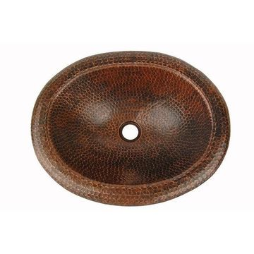Premier Copper Products LO18RDB Oval Self Rimming Hammered Copper Sink - 18