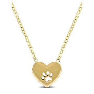 10kt Yellow Gold Heart and Paw Print Necklace