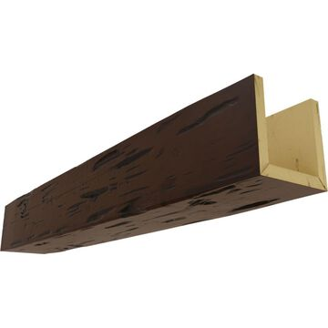 Ekena Millwork Pecky Cypress 4-in x 10-in x 96-in Premium Hickory Prefinished Polyurethane Decorative Beam in Brown | BMPC3C0100X040X096ZH