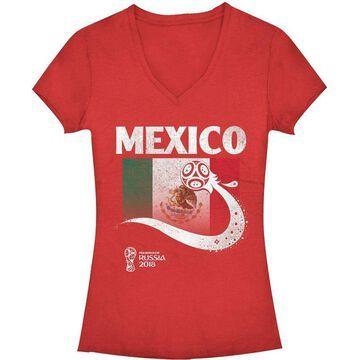 Fifth Sun Women's FIFA 2018 World Cup Russia Mexico Trophy Logo Red T-Shirt