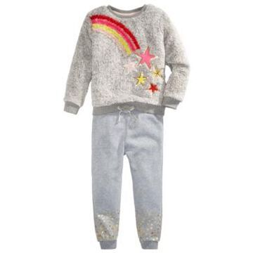Epic Threads Little Girls Faux-Fur Rainbow Star Sweatshirt Set, Created For Macy's