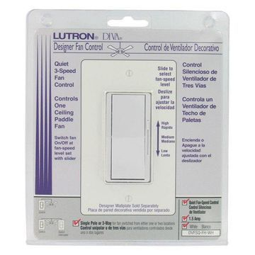 Lutron 3 Speed White Diva Quiet Fan Control