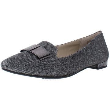 Rialto Womens Amalia Glitter Bow Pointy-Toe Flats