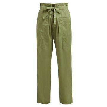 Sea - Tula Paperbag-waist Cotton-blend Trousers - Womens - Khaki
