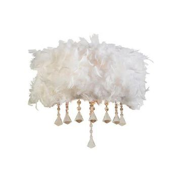 Plc Lighting 2 Light Wall Sconce Peacock Collection 73045 White/Pc